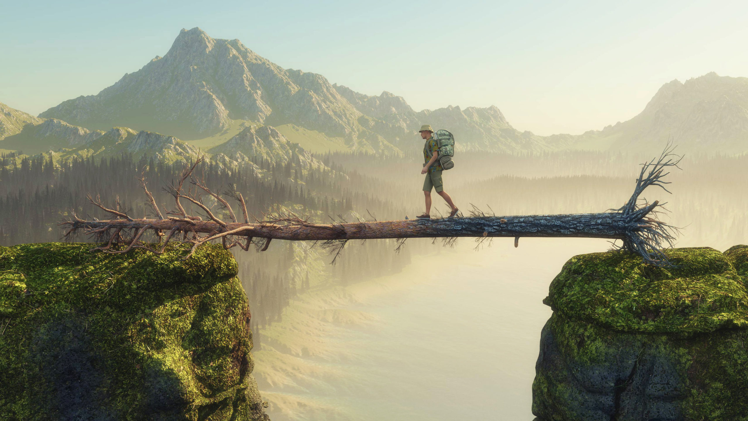 Traveler walking on fallen tree between two mountain rocks . This is a3d render illustration.